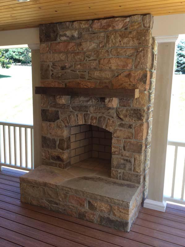 Heavy stone fireplace