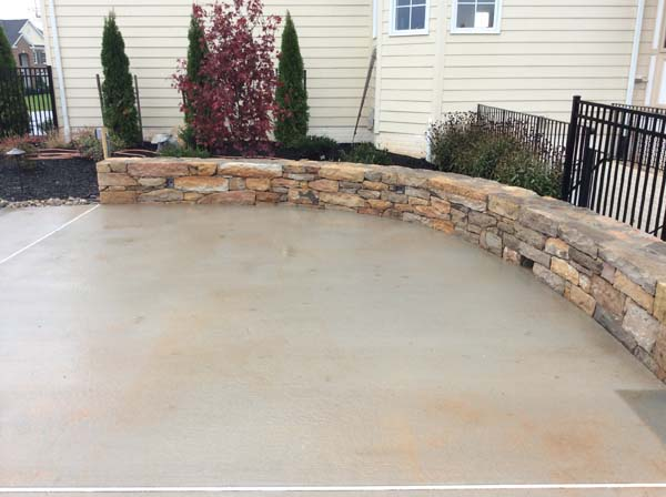 curved stone wall at home