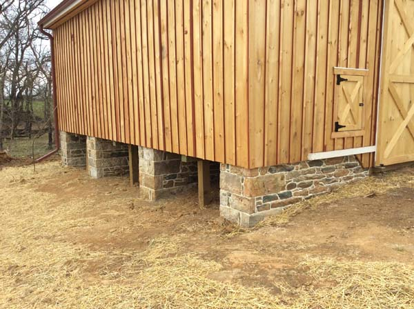 brand new barn with stone