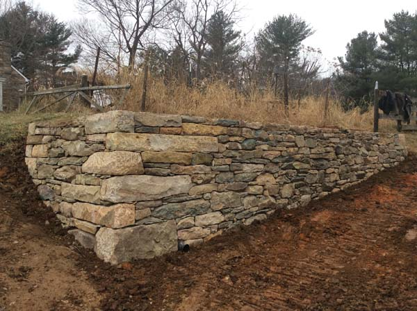 thick stone retaining wall